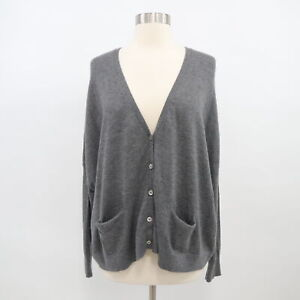 Vince-Cashmere-Cardigan-Sweater-Womens-XS-Gray-Oversized-Dolman-Sleeves-Boxy