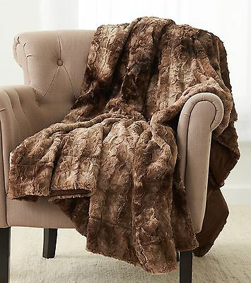 "Pinzon Faux Fur Throw Blanket 50"" x 60"", Alpine Brown"