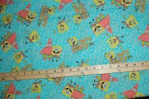 1-6Yd-2003-Viacom-Vtg-Sponge-Bob-Okey-Dokey-Cotton-Fabric-59-034-W