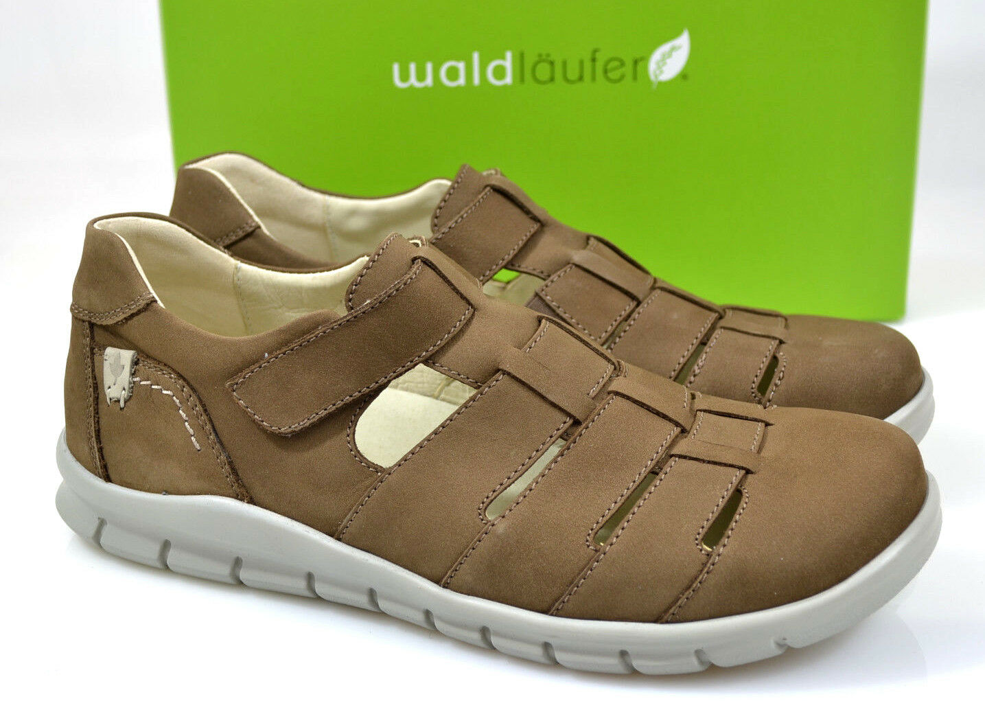 Waldläufer Herren Comfort Slipper Klettverschluß Sandale Schuhe braun Weit NEU