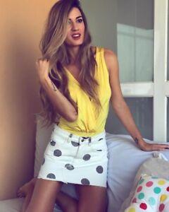4e55e0f619 Zara Polka Dot Denim Mini Skirt Size X SMALL SMALL   MEDIUM BNWT