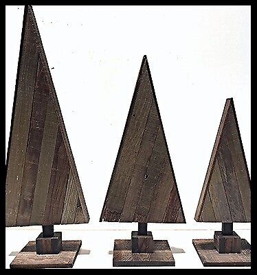 Set of 3 Wooden Triangle Christmas Trees Recycled Barn Wood Trees 30""