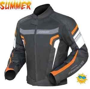 DRIRIDER-AIR-RIDE-3-MOTORCYCLE-JACKET-NEW-black-orange-Mens-Small-Vented-summer