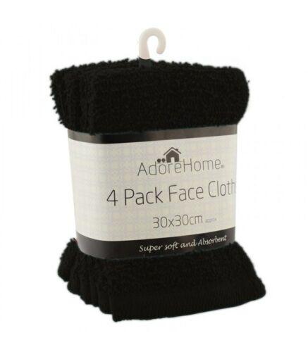 New 4 Pack cotton face towels cloth flannels wash cloths super soft 30x30 cm.