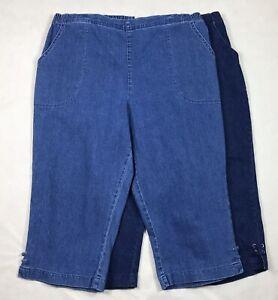 NEW Croft /& Barrow Pull On Womens White Khaki Blue Skimmer Capris S-XXL