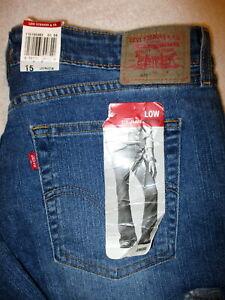 Levis-519-Low-Rise-Flare-Leg-Stretch-Womens-Blue-Denim-Jeans-Size-15-L-x-35-New