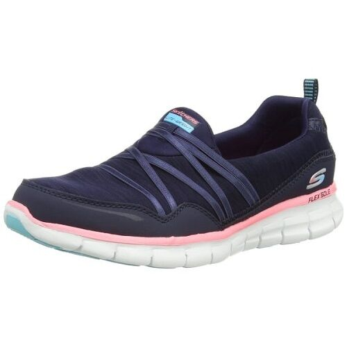 Skechers Synergy Scene Stealer Ladies Navy/Pink Lightweight Walking Shoes