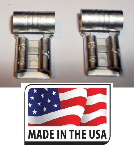 """50 22-18 NON INSULATED FEMALE FLAG TERMINAL 250 1//4/"""" CONNECTOR MADE IN USA"""