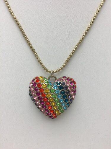 "$48 Betsey Johnson Rainbow Connection /""Love Me/"" Pendant Necklace K1F"