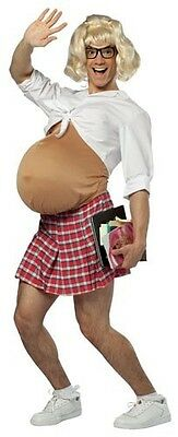 Pregnant Schoolgirl Costume School Girl Adult Mens Fat Belly Suit Nerd Skirt NEW