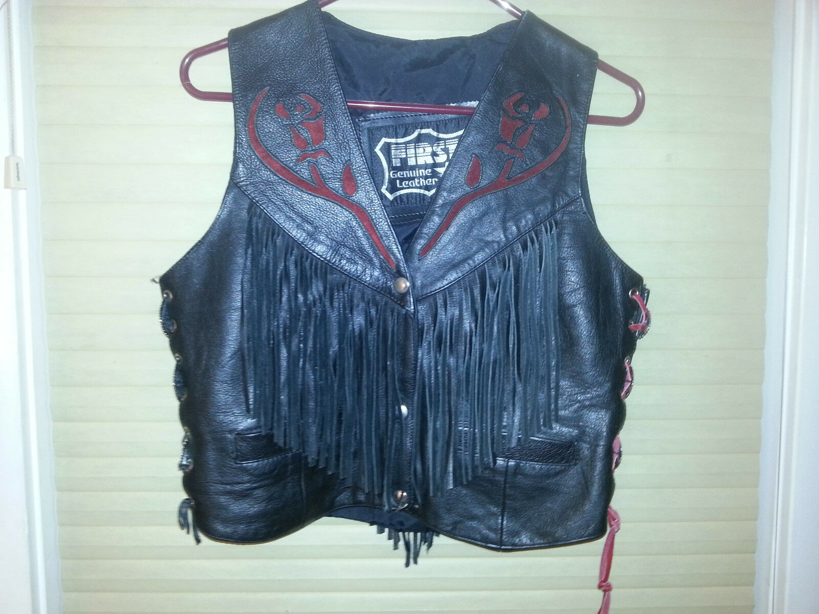 First Genuine Leather Vest Harley Davidson Motorcycle Red pink Tassles