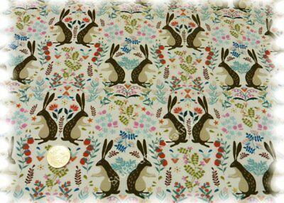 Folk Rabbits Stretch-Jersey vanille Hilco Shirtstoff Folklore 25 cm Baumwolle