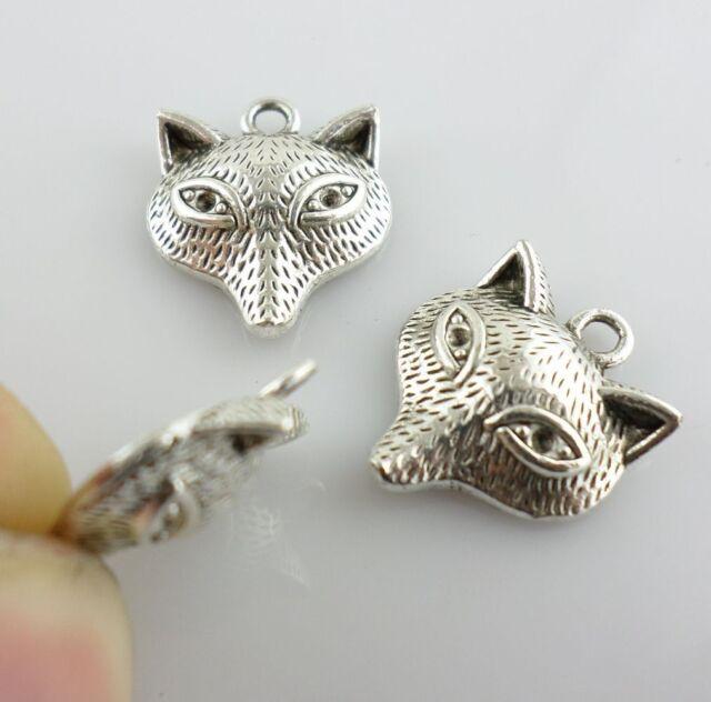 20pcs Antique Silver Small Fox Charms Pendants 15x18mm (Lead-free)