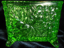 Green Vaseline glass toothpick business card holder / uranium canary grape neon