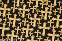 Holy Bible Study Black Divine Cross With Metallic 100% Cotton Fabric By The Yard