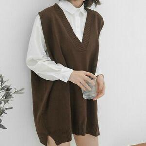 Women-V-neck-Sweater-Vest-Knitted-Jumper-Waistcoat-Tank-Top-Preppy-Winter-Casual