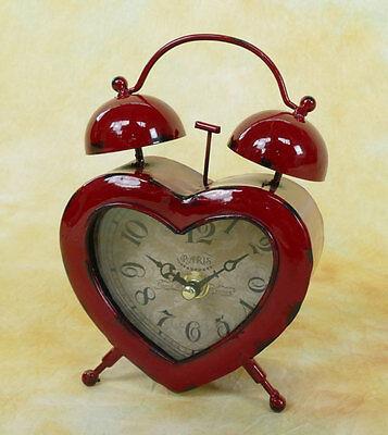 Kleiner Wecker vintage Retro Herz Glocken Standuhr Metall Kaminuhr Uhr MU019-b