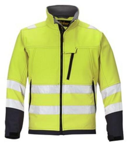 Snickers HI-VIS YELLOW Softshell Water repellant Jacket 1213 Class3 Fleece Lined