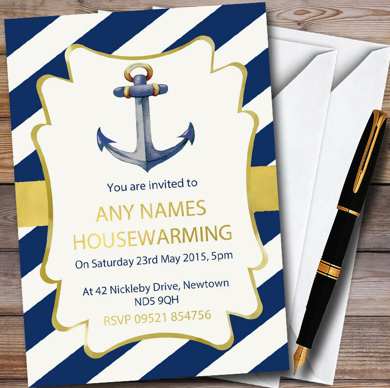 Anchor Nautical Personalised Housewarming Party Invitations