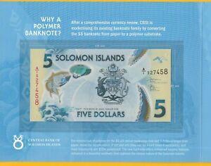 SOLOMON ISLANDS P#New 5 Solomon Island Dollar Polymer Banknote.