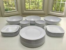 $159 NEW 43 Pc WHITE Indoor Outdoor Round Plates Square Dishes Bowl Melamine Set