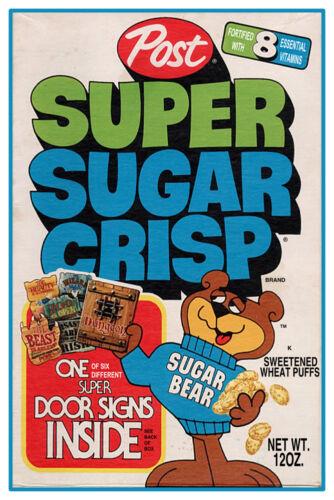 """VINTAGE SUPER SUGAR CRISP CEREAL POSTER 12/"""" x 18/"""""""