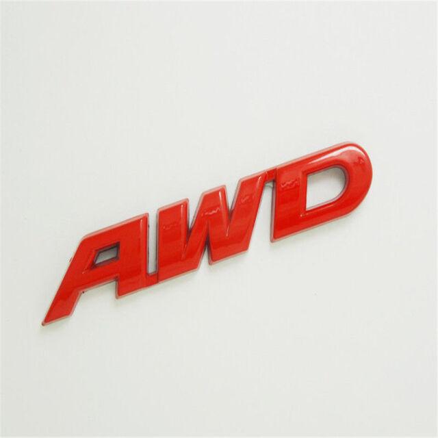 New 15*2.5cm Auto Fender Tailgate Red Metal 3D AWD Emblem Sticker Wheel Badge