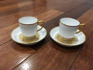 Antique-Royal-Crown-Derby-Pair-White-amp-Gold-Porcelain-Demitasse-Cups-amp-Saucers