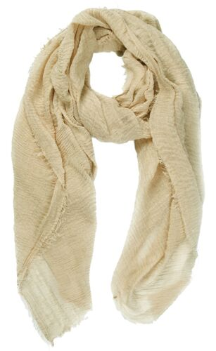 Cotton Feel Crinkle Textured Scarf with Fringed Hems Soft Lightweight