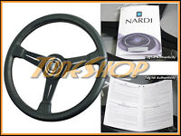 Italy Nardi Classic 330mm Steering Wheel Black Leather Blk Spoke White Stiching