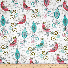 By 1/2 Yard ~ Benartex Bird Fabric ~ Soul Blossoms Chick A Doodle in White birds