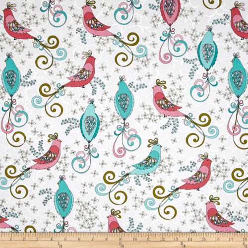 By 1//2 Yard ~ Benartex Bird Fabric ~ Soul Blossoms Chick A Doodle in White birds