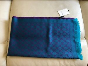 BRAND-NEW-GUCCI-DOUBLE-GG-LOGO-LADIES-SCARF-SHAWL-TURQUOISE-PURPLE-SHINE