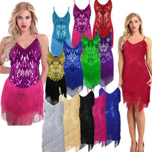 153fe7863 Image is loading Women-Tassel-Fringe-Dance-Dress-Latin-Tango-Rumba-