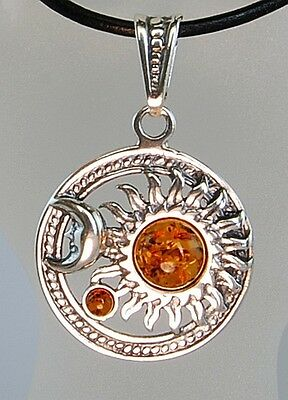 Genuine Amber Pendant Necklace in Sterling Silver and Cord