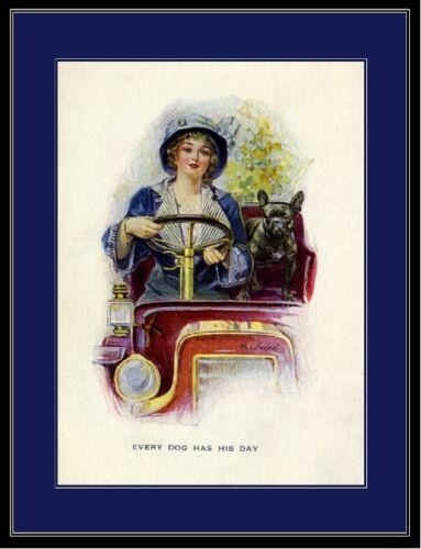 English Print French Bulldog Dog /& Lady Art Picture