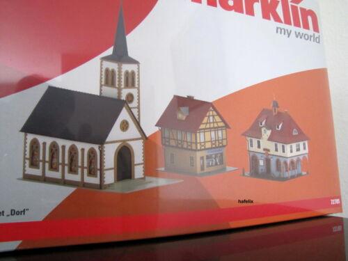 EMBALAJE ORIGINAL ligeramente dañado ayuntamiento cargar Märklin 72785 Kit-set con iglesia NUEVO