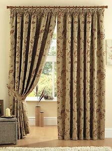 TERRACOTTA-Pencil-Pleat-Lined-Ready-Made-Jacquard-Trail-Curtains-Luxury-Heavy