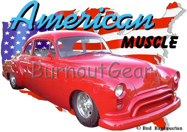 1950 ROT Oldsmobile Coupe a Custom Hot Rod USA T-Shirt 50 Muscle Car Tees