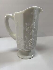 Vintage-Westmoreland-Pedestal-Pitcher-Milk-Glass-Embossed-Grapes-amp-Vines