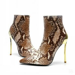 Sexy-Women-Snakeskin-Print-Stilettos-Steel-Heel-Pointed-Formal-Ankle-Boots-Party