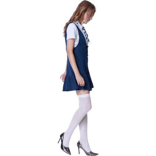 Navy Blue SCHOOLGIRL UNIFORM Adult Women/'s Fancy Dress Outfit Costume Size SMALL