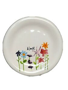 Set-2-RAE-DUNN-Bloom-Appetizer-Plates-Floral-Artisan-Collection-Magenta-Spring