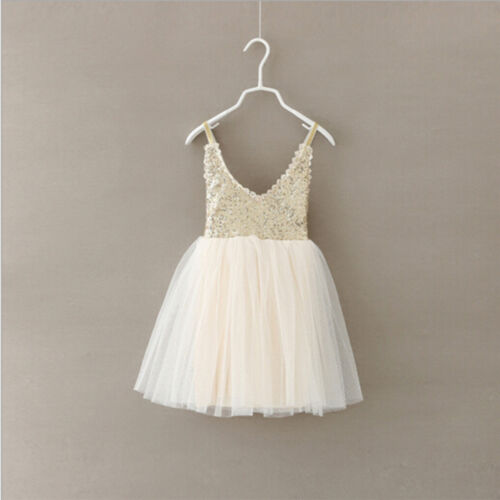 Baby Kids Girl Princess Sequins Toddler Tulle Lace Tutu Party Dress Beige Pip