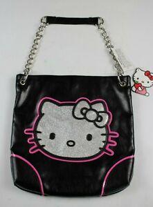 New-Authentic-Hello-Kitty-Black-amp-Silver-Glitter-Face-Shoulder-Bag-W-Chain-Strap