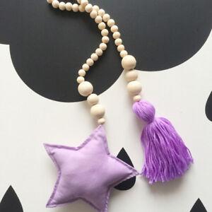 Wooden-Beaded-Tassel-Hanging-Ornament-Star-Moon-Pendant-Tieback-DIY-Decor-HD3