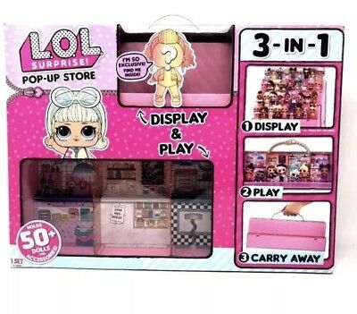 LOL POP-UP STORE 3-IN 1 HOLDS 50 DOLLS /& ACCESSORIES DISPLAY CARRY CASE NEW