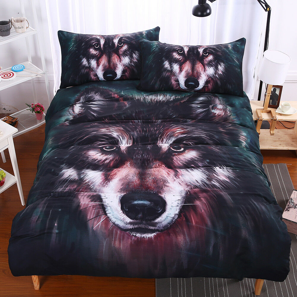 Wolf Bedding Set Painting 3D Vivid Duvet Cover With Pillowcases Twill Cool Bed S