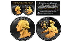 1976-BLACK-RUTHENIUM-Bicentennial-US-Quarter-Coin-w-24K-GOLD-features-2-Sided