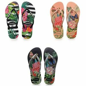 59fb23831 Havaianas Slim Tropical   Floral Print Flip Flops Summer Beach Pool ...